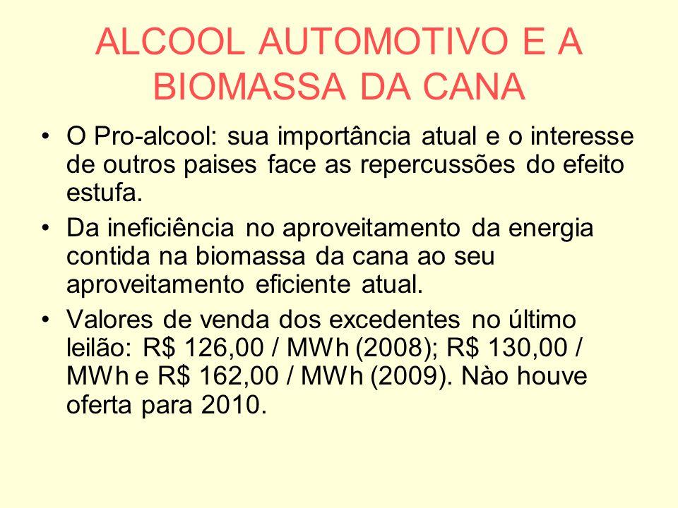 ALCOOL AUTOMOTIVO E A BIOMASSA DA CANA