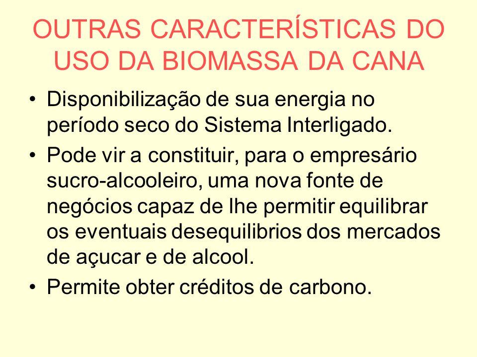 OUTRAS CARACTERÍSTICAS DO USO DA BIOMASSA DA CANA
