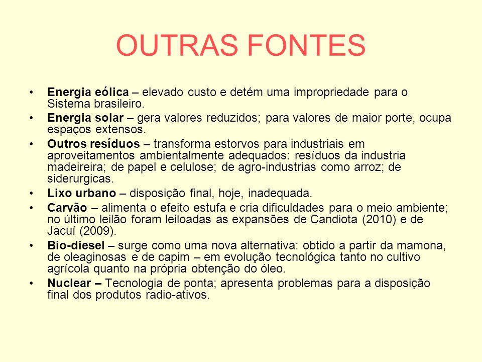 OUTRAS FONTES Energia eólica – elevado custo e detém uma impropriedade para o Sistema brasileiro.