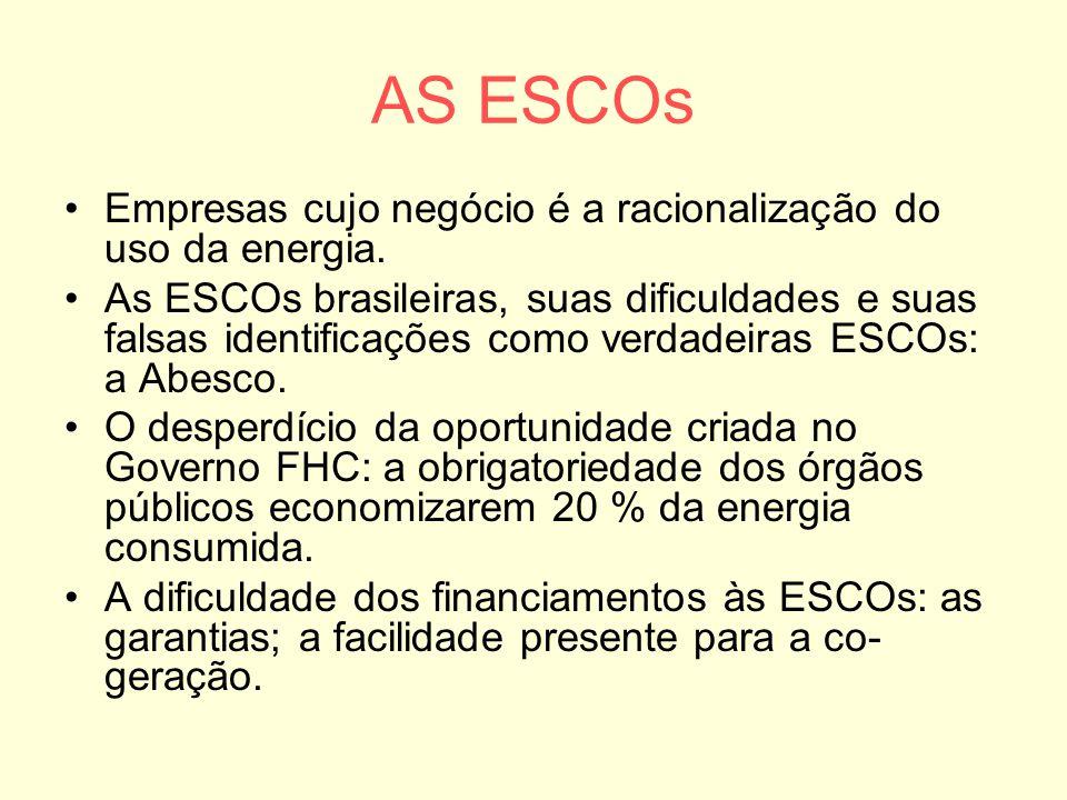 AS ESCOs Empresas cujo negócio é a racionalização do uso da energia.