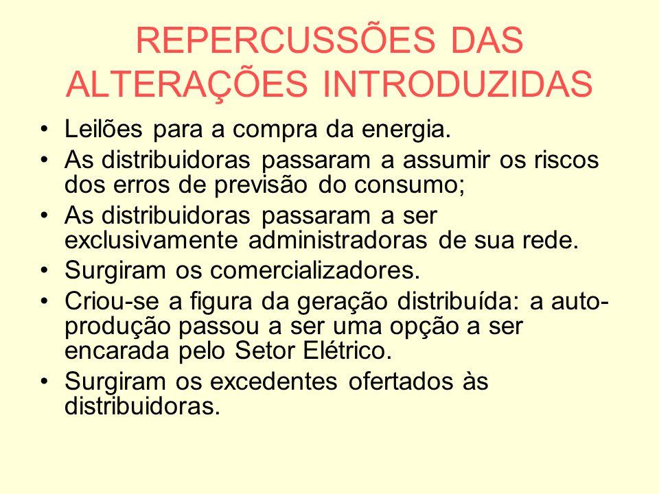 REPERCUSSÕES DAS ALTERAÇÕES INTRODUZIDAS