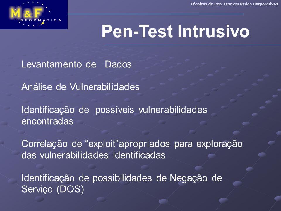 Pen-Test Intrusivo Levantamento de Dados Análise de Vulnerabilidades