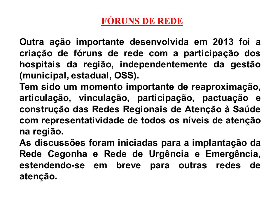 FÓRUNS DE REDE