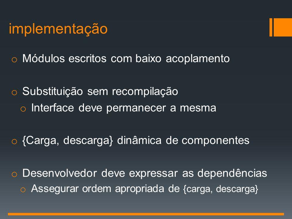 implementação Módulos escritos com baixo acoplamento