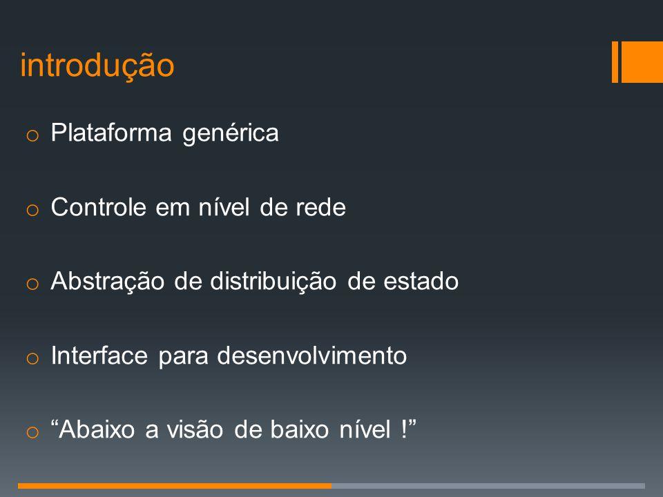introdução Plataforma genérica Controle em nível de rede