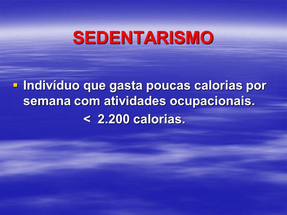 SEDENTARISMO Indivíduo que gasta poucas calorias por semana com atividades ocupacionais.