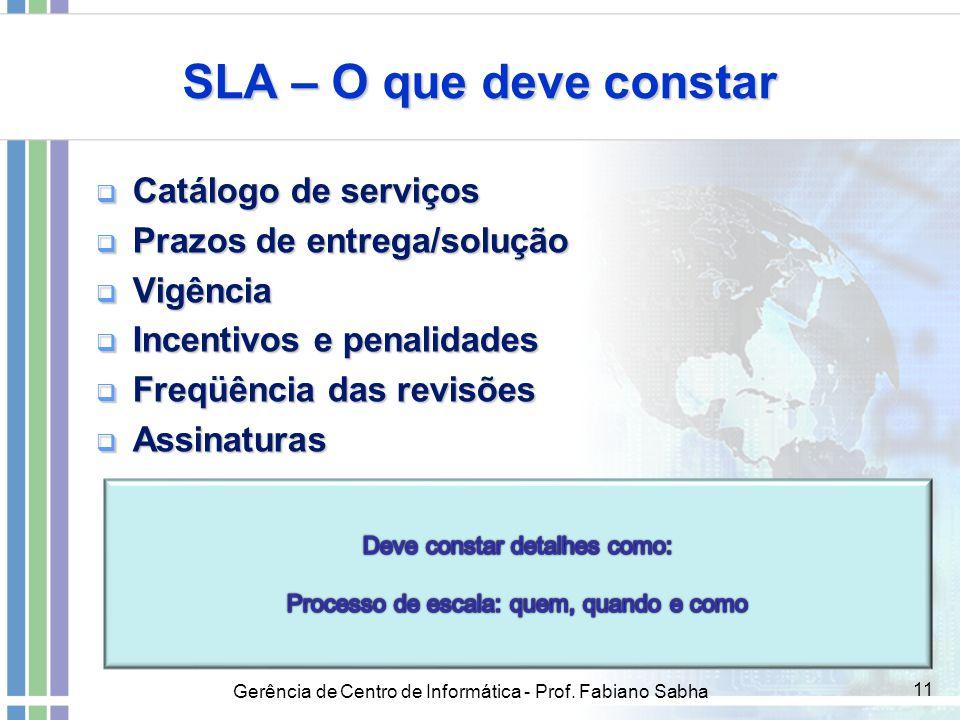 SLA – O que deve constar Catálogo de serviços
