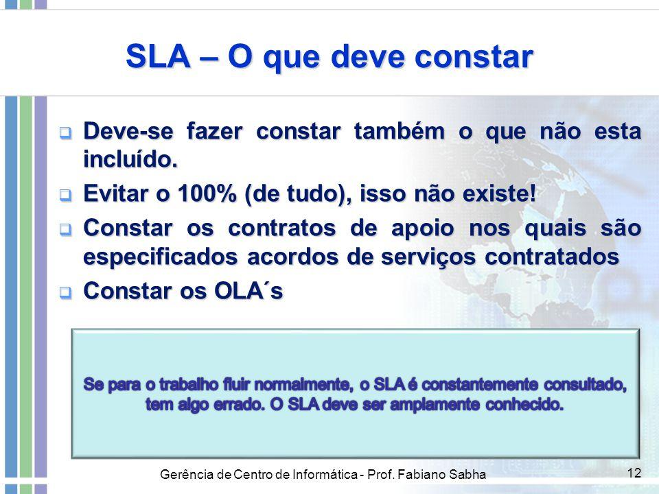 SLA – O que deve constar Deve-se fazer constar também o que não esta incluído. Evitar o 100% (de tudo), isso não existe!