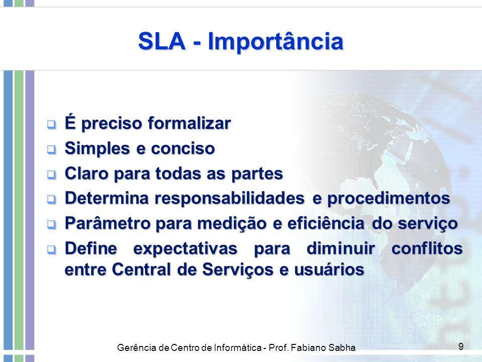 SLA - Importância É preciso formalizar Simples e conciso