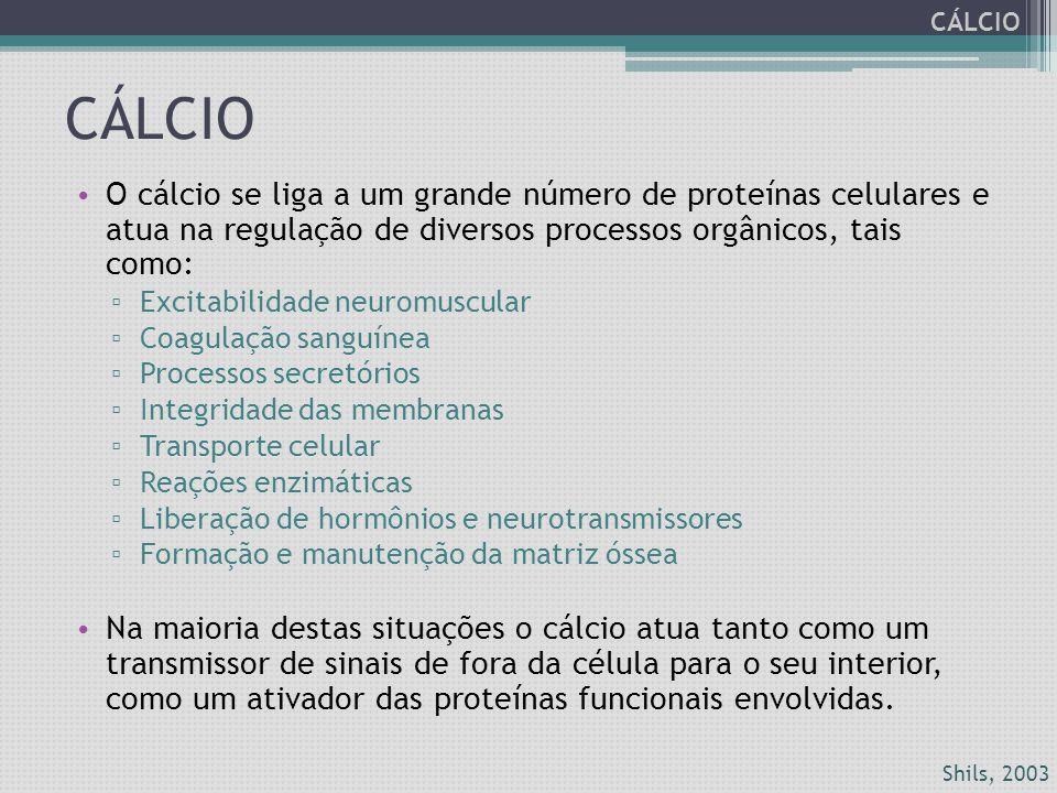 CÁLCIO CÁLCIO. O cálcio se liga a um grande número de proteínas celulares e atua na regulação de diversos processos orgânicos, tais como: