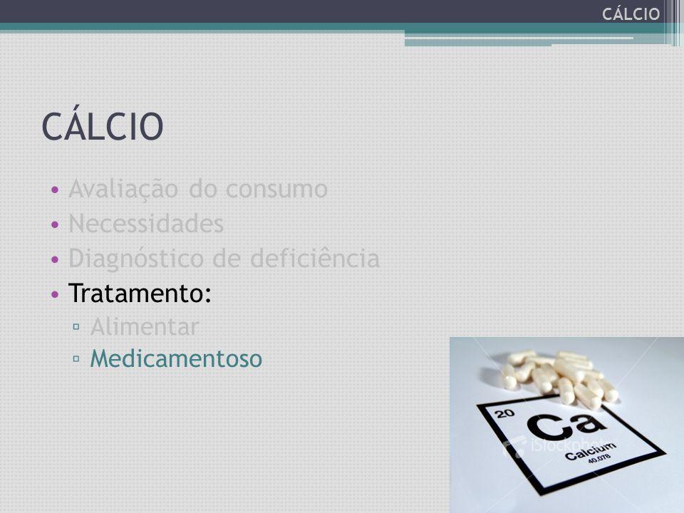 CÁLCIO Avaliação do consumo Necessidades Diagnóstico de deficiência