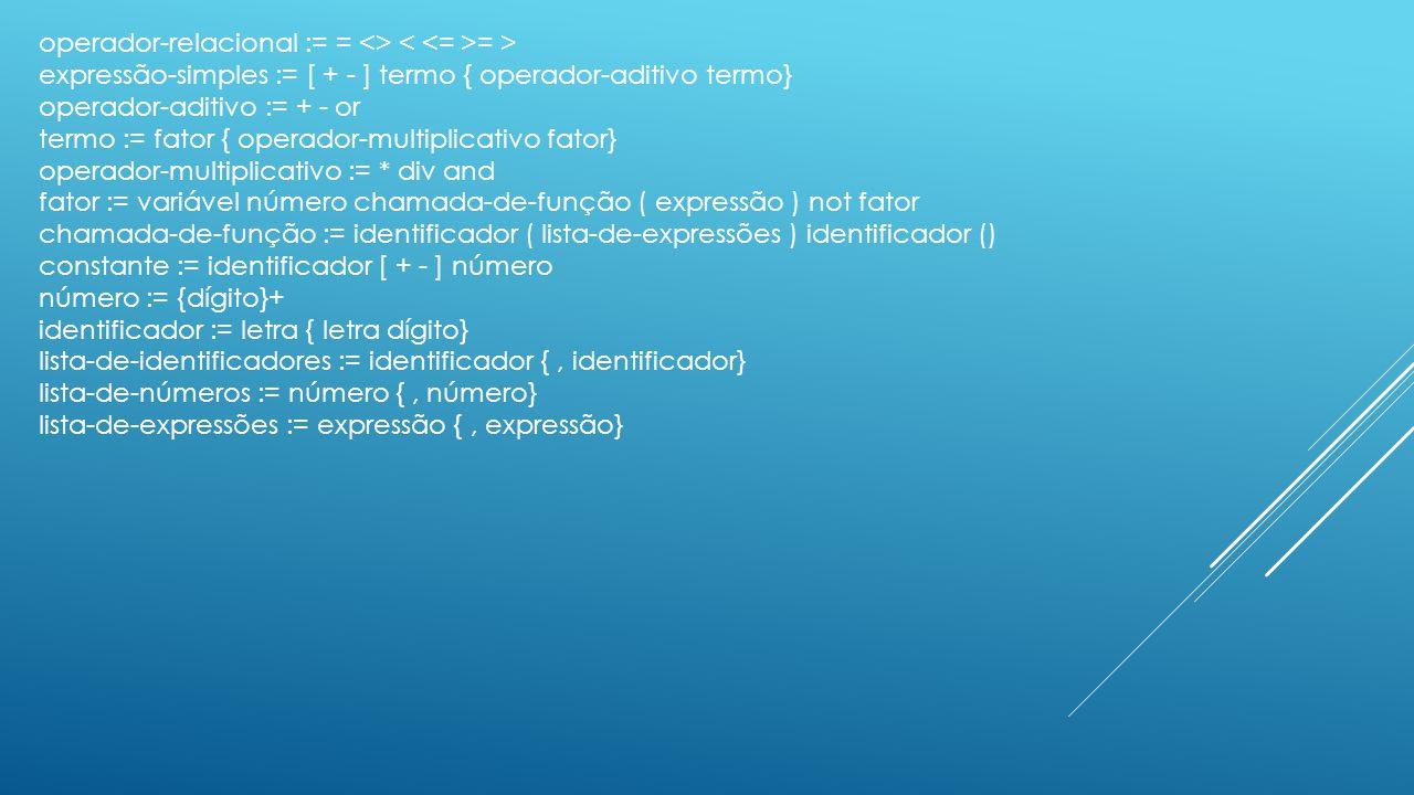 operador-relacional := = <> < <= >= >