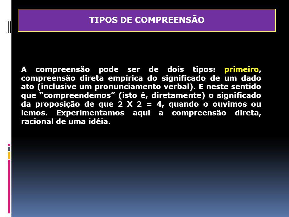 TIPOS DE COMPREENSÃO
