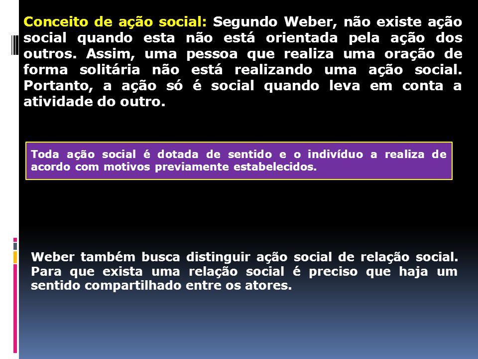 Conceito de ação social: Segundo Weber, não existe ação social quando esta não está orientada pela ação dos outros. Assim, uma pessoa que realiza uma oração de forma solitária não está realizando uma ação social. Portanto, a ação só é social quando leva em conta a atividade do outro.