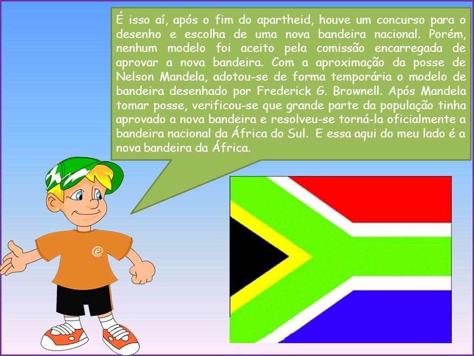 É isso aí, após o fim do apartheid, houve um concurso para o desenho e escolha de uma nova bandeira nacional.