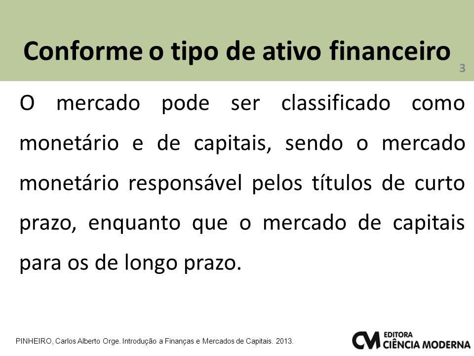Conforme o tipo de ativo financeiro