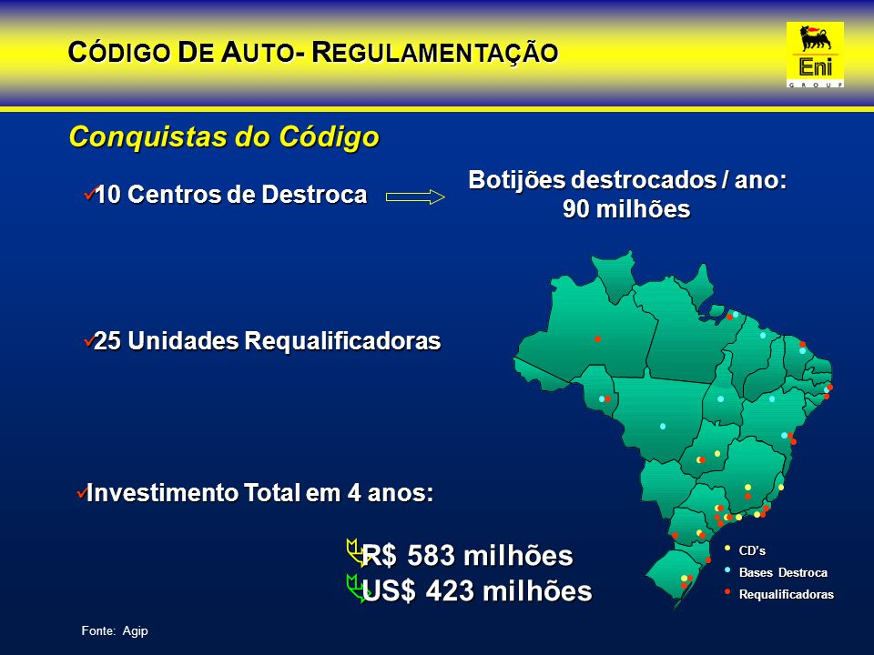 CÓDIGO DE AUTO- REGULAMENTAÇÃO Botijões destrocados / ano: