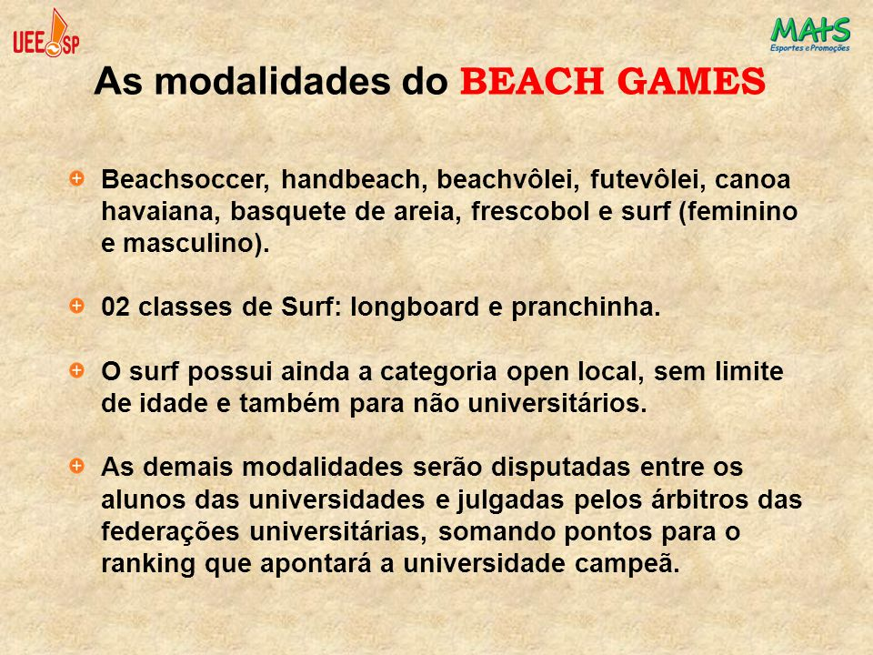 As modalidades do BEACH GAMES