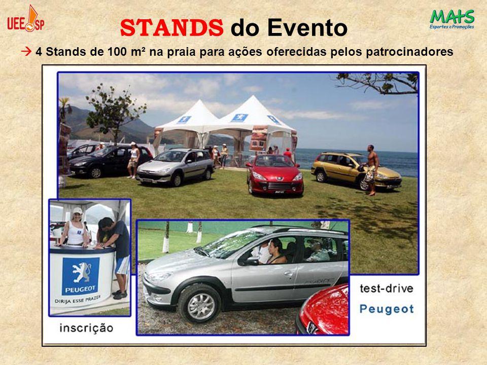 STANDS do Evento  4 Stands de 100 m² na praia para ações oferecidas pelos patrocinadores