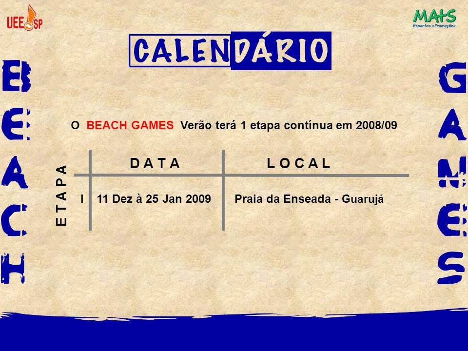 O BEACH GAMES Verão terá 1 etapa contínua em 2008/09