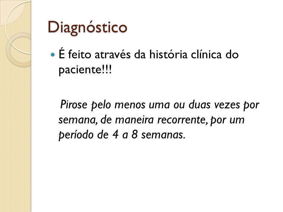 Diagnóstico É feito através da história clínica do paciente!!!