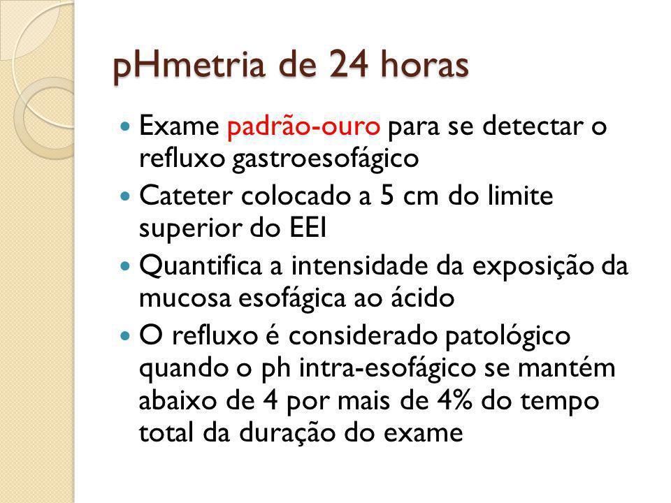 pHmetria de 24 horas Exame padrão-ouro para se detectar o refluxo gastroesofágico. Cateter colocado a 5 cm do limite superior do EEI.