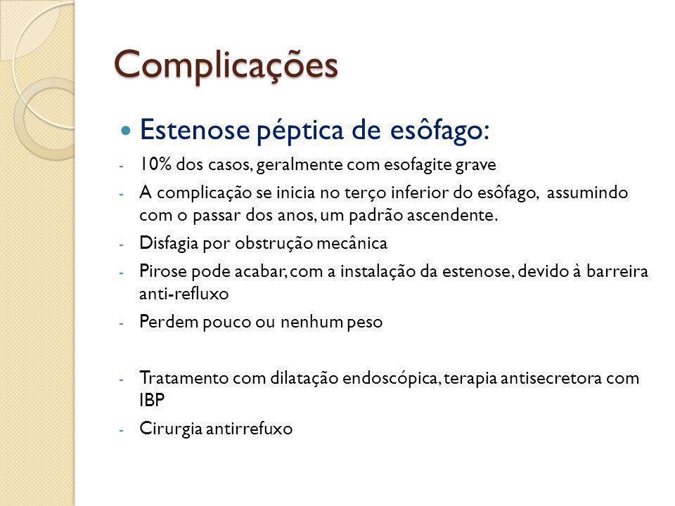Complicações Estenose péptica de esôfago: