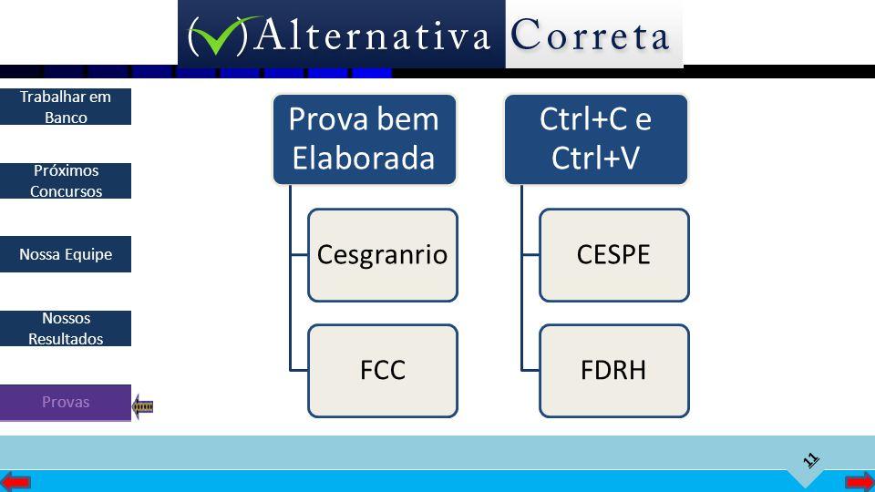 Prova bem Elaborada Cesgranrio FCC Ctrl+C e Ctrl+V CESPE FDRH