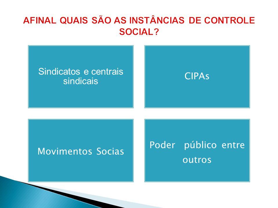 AFINAL QUAIS SÃO AS INSTÂNCIAS DE CONTROLE SOCIAL