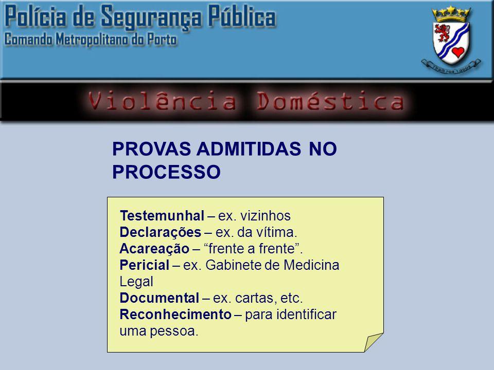 PROVAS ADMITIDAS NO PROCESSO