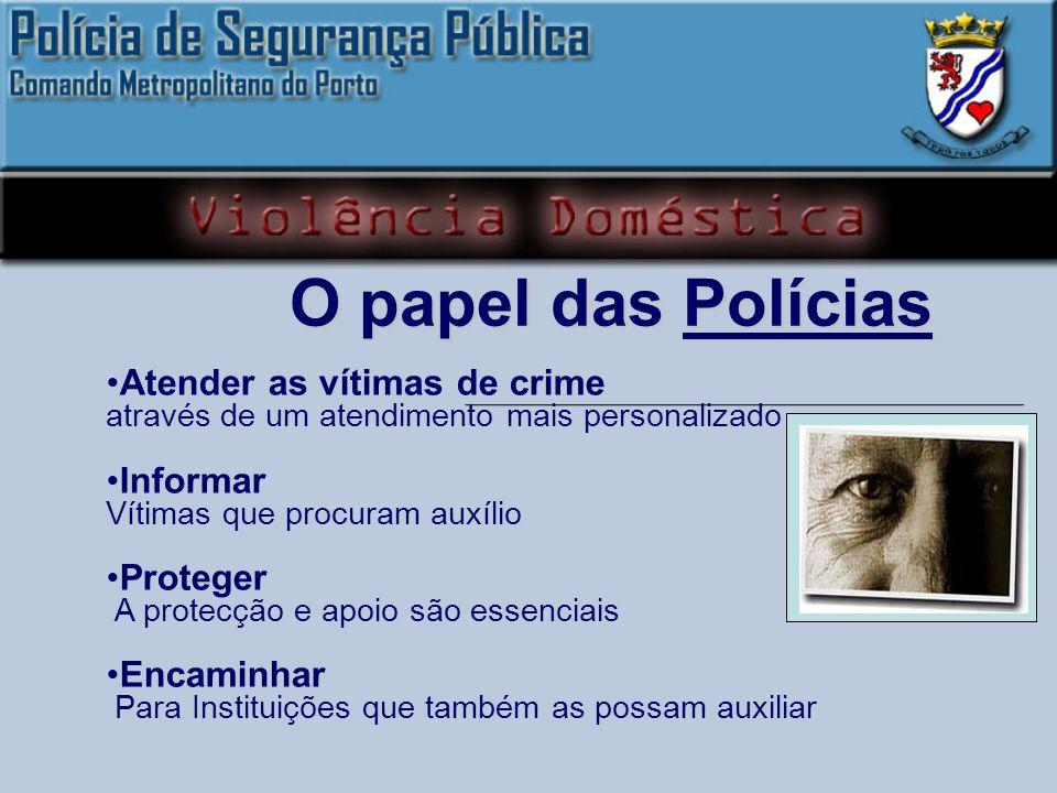 O papel das Polícias Atender as vítimas de crime Informar Proteger