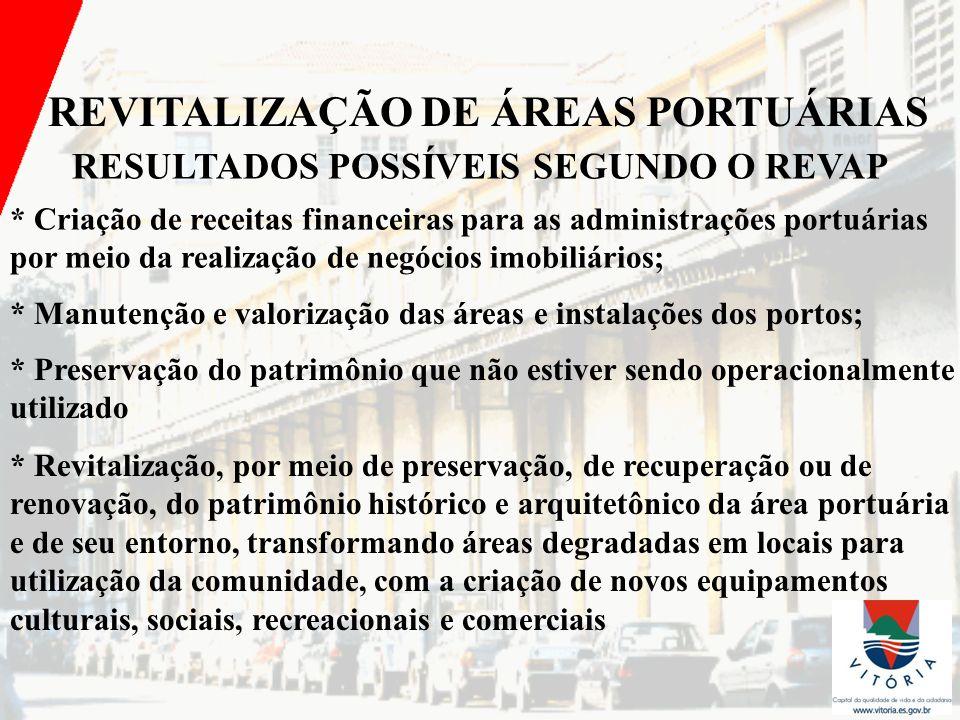 REVITALIZAÇÃO DE ÁREAS PORTUÁRIAS RESULTADOS POSSÍVEIS SEGUNDO O REVAP
