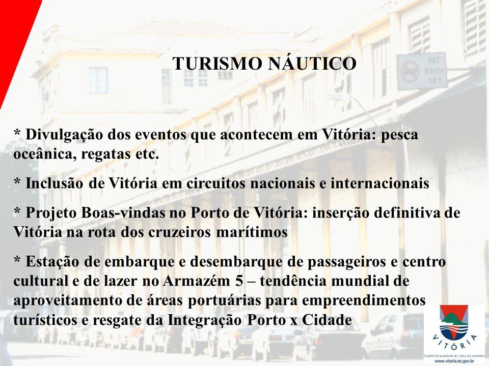 TURISMO NÁUTICO * Divulgação dos eventos que acontecem em Vitória: pesca oceânica, regatas etc.