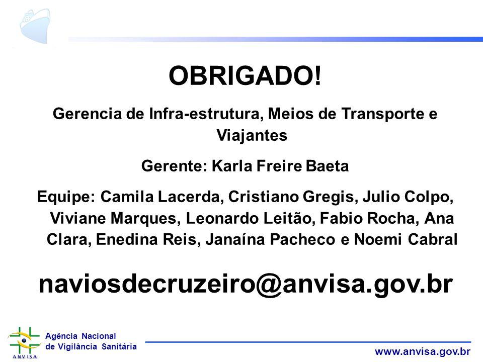 OBRIGADO! naviosdecruzeiro@anvisa.gov.br