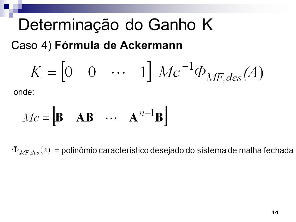 Determinação do Ganho K