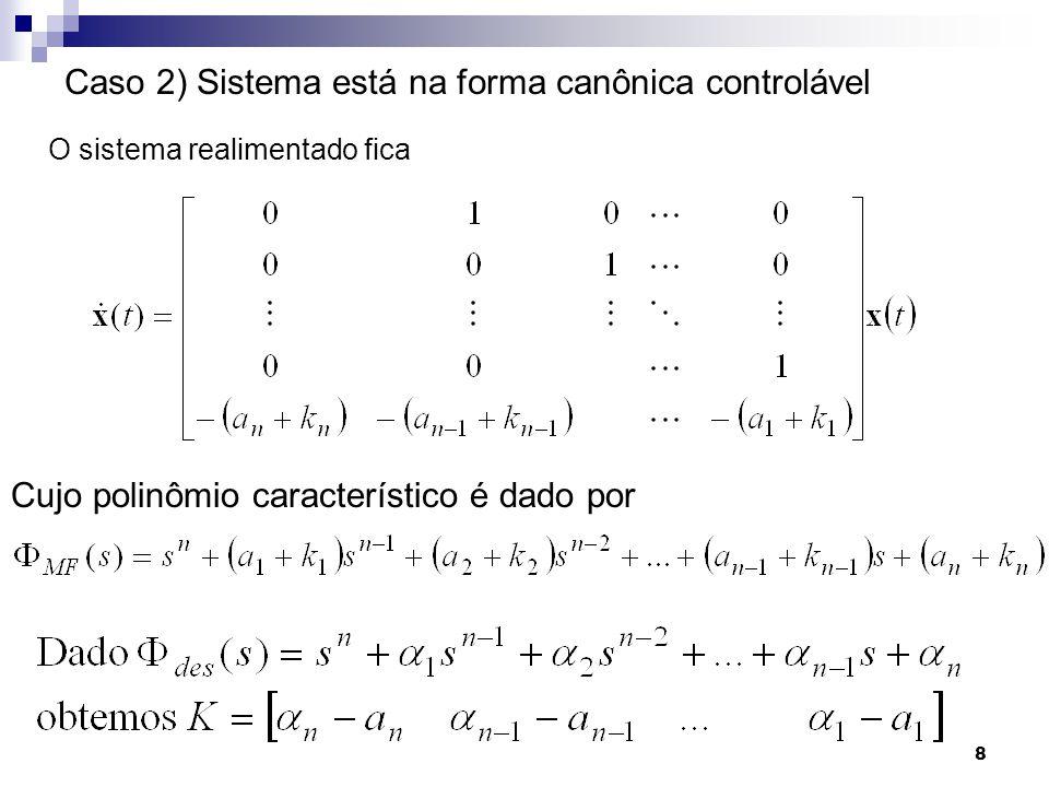 Caso 2) Sistema está na forma canônica controlável