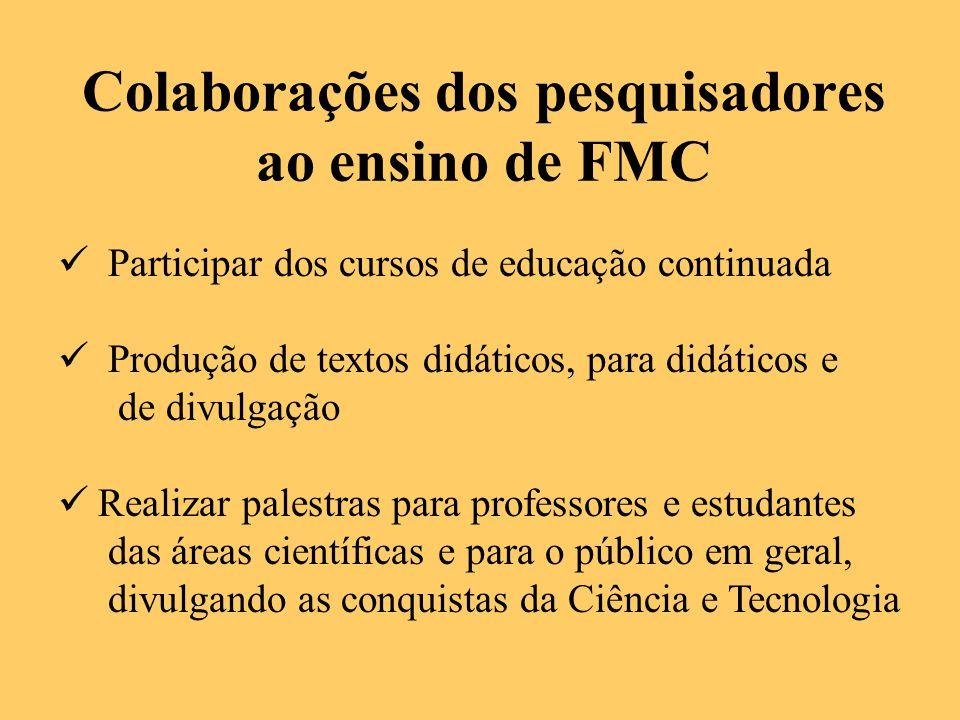 Colaborações dos pesquisadores ao ensino de FMC