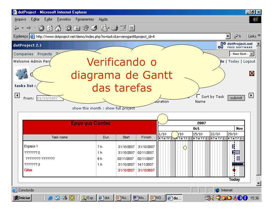 Verificando o diagrama de Gantt das tarefas