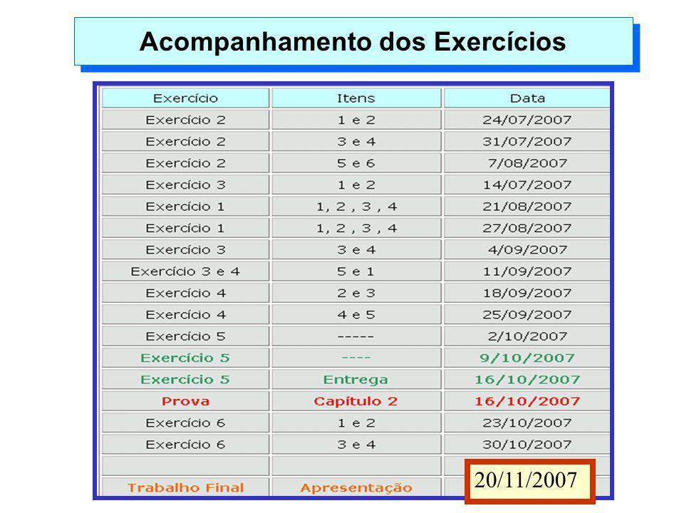 Acompanhamento dos Exercícios