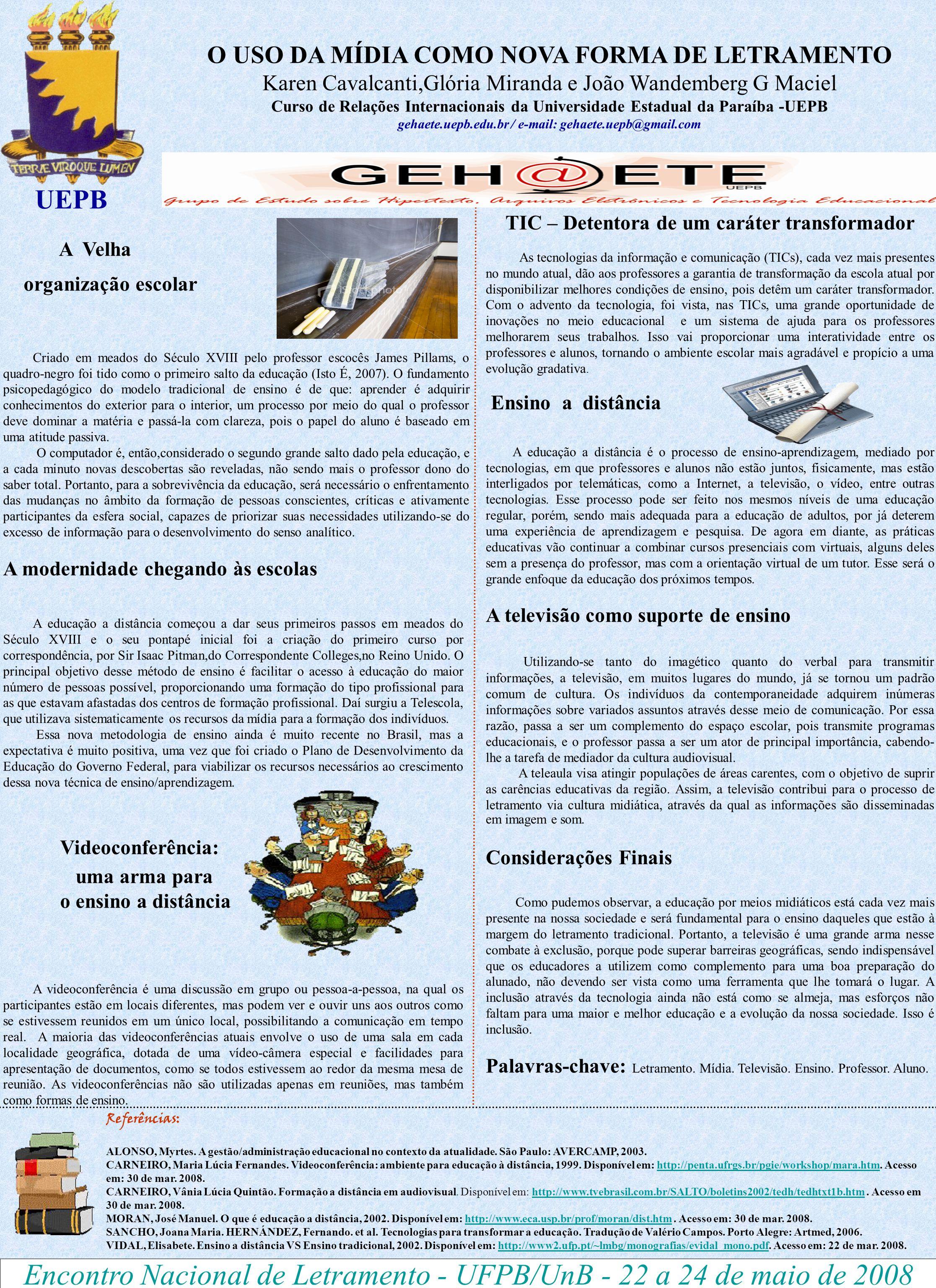 Encontro Nacional de Letramento - UFPB/UnB - 22 a 24 de maio de 2008