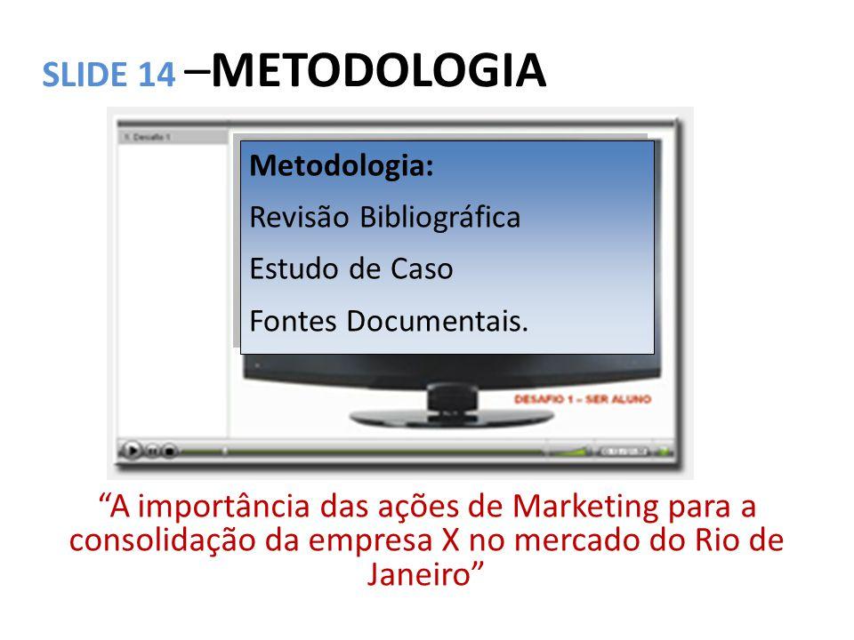 SLIDE 14 –METODOLOGIA Metodologia: Revisão Bibliográfica. Estudo de Caso. Fontes Documentais.