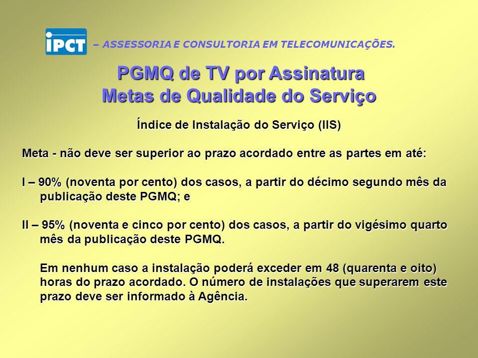 PGMQ de TV por Assinatura Metas de Qualidade do Serviço
