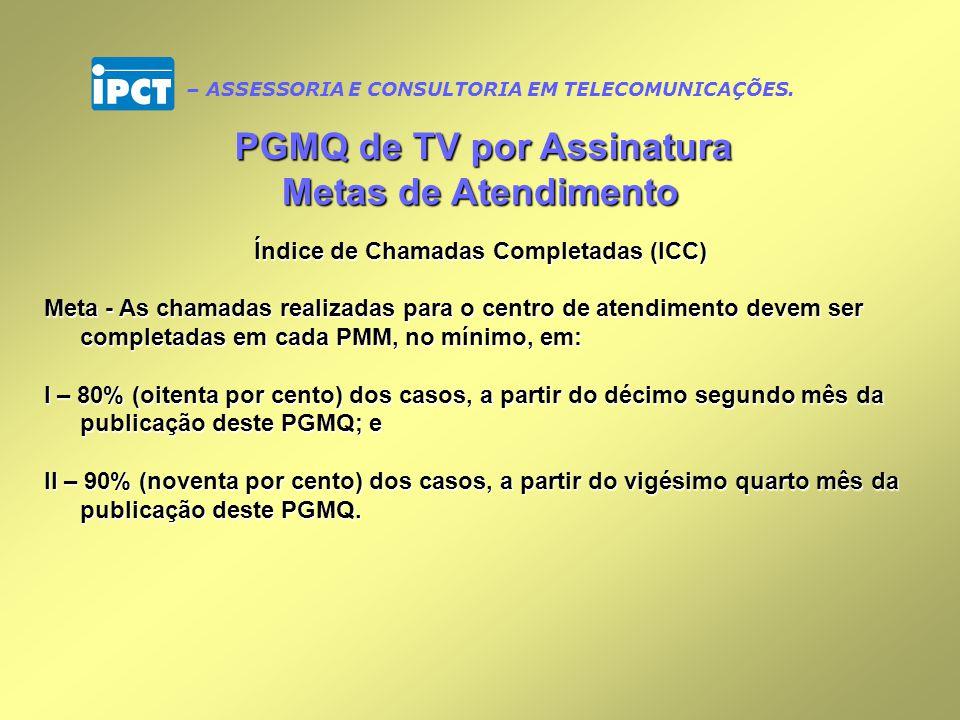 PGMQ de TV por Assinatura Índice de Chamadas Completadas (ICC)