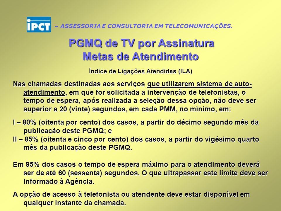 PGMQ de TV por Assinatura Índice de Ligações Atendidas (ILA)