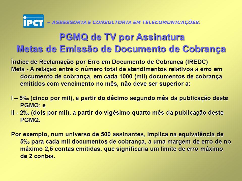 PGMQ de TV por Assinatura Metas de Emissão de Documento de Cobrança