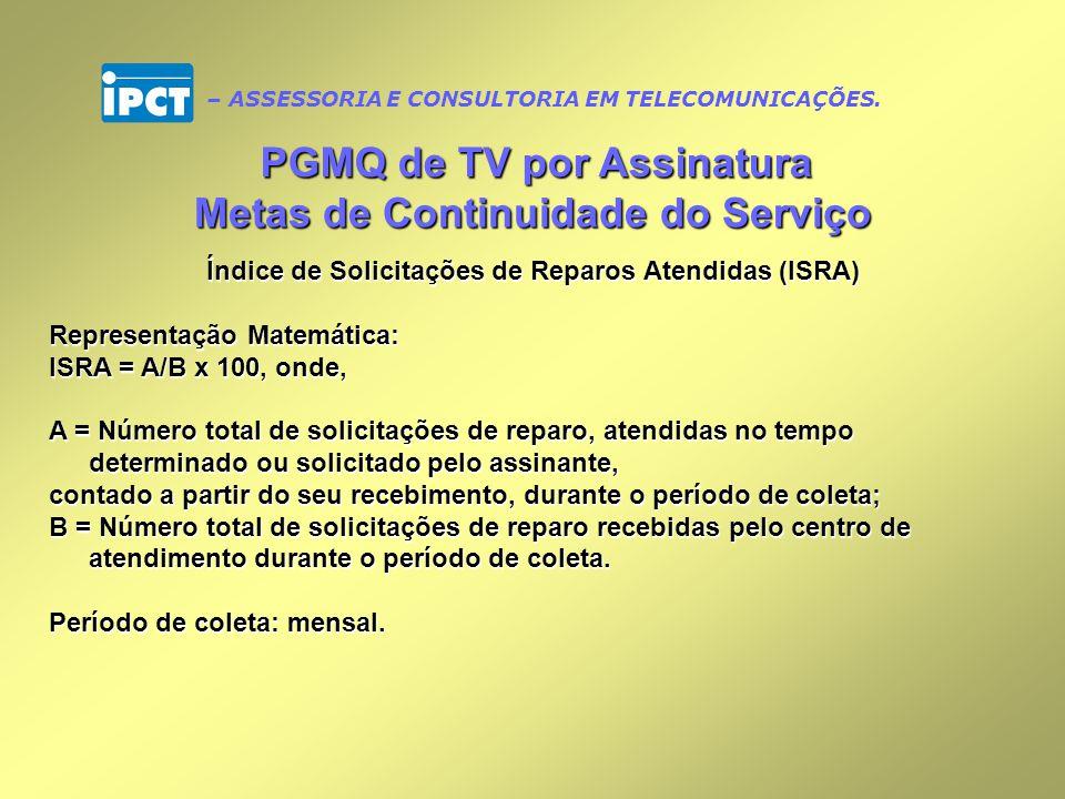 PGMQ de TV por Assinatura Metas de Continuidade do Serviço
