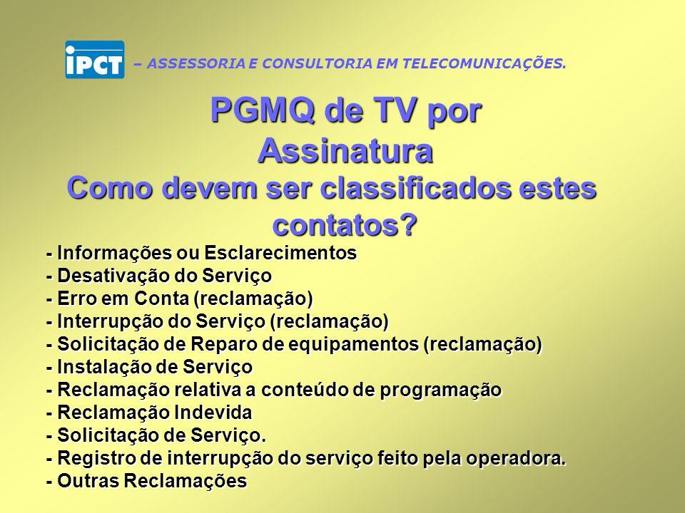PGMQ de TV por Assinatura Como devem ser classificados estes contatos