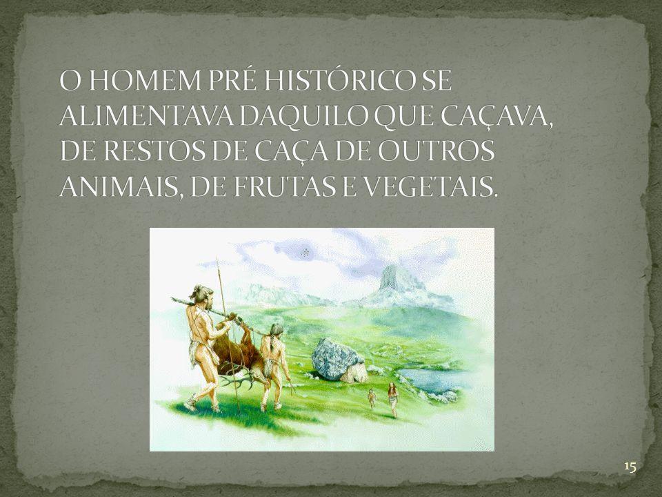 O HOMEM PRÉ HISTÓRICO SE ALIMENTAVA DAQUILO QUE CAÇAVA, DE RESTOS DE CAÇA DE OUTROS ANIMAIS, DE FRUTAS E VEGETAIS.