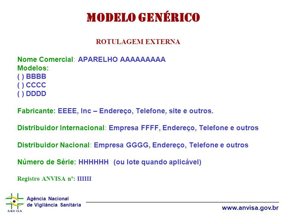 Modelo Genérico ROTULAGEM EXTERNA Nome Comercial: APARELHO AAAAAAAAA