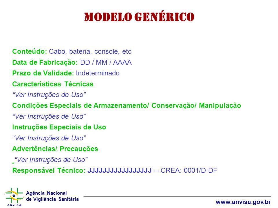 Modelo Genérico Conteúdo: Cabo, bateria, console, etc